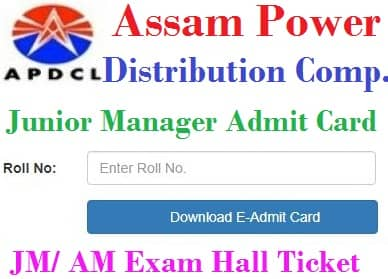 APDCL Junior Manager Admit Card 2021