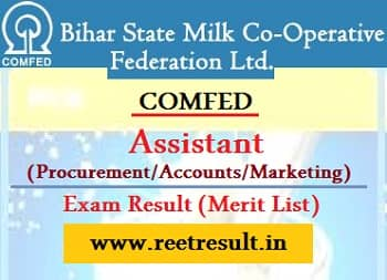 COMFED Bihar Procurement Assistant Result 2021